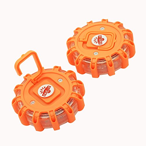 StarFlare LED Road Flares Emergency Disc Safety Light Flashing Roadside Beacon for Car Truck with Storage Bag and Batteries( Pack of 3 )
