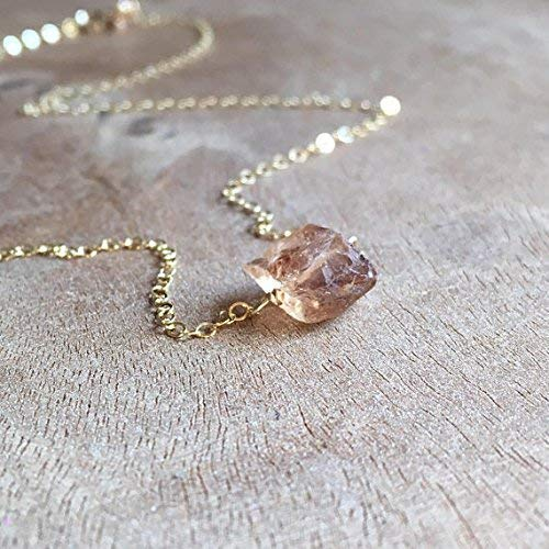 Raw Imperial Topaz Necklace on Gold or Sterling Silver November Birthstone Jewelry Gift For Women