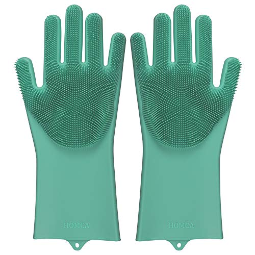 HOMCA Cleaning Scrubber, Magic Saksak Rubber Heat Resistant Reusable Silicone Gloves for Household, Washing, Kitchen (Large,1 Pair,Green)