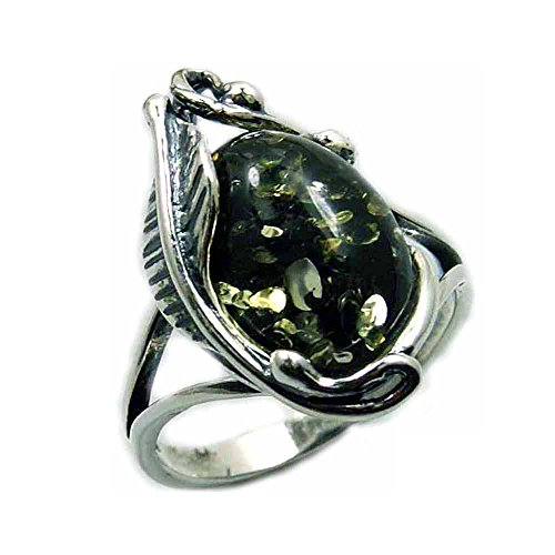 Passion Leaf' Sterling Silver Natural Green Baltic Amber Ring, Size 8.25