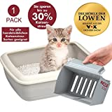 Keddii Scoop XL Cat Litter Scoop Cleaning the Litter Tray Siebgröße Manual Adjustable Multifunctional Litter for Cat Litter Tray up to 10 x More Volume than Conventional Pooper Scooper - Grey, 1er Set