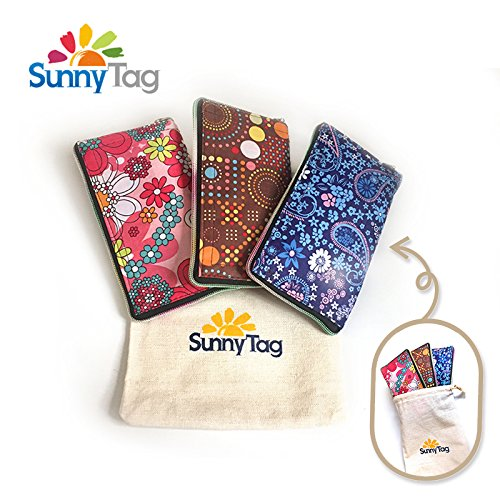 Sunny Tag Foldable Reusable Grocery Shopping Bag Travel Tote - Wallet Style - Pack of 3. Water repellent, Washable, Hold up to 33 LBS or 15 KG. Floral, dots and paisley