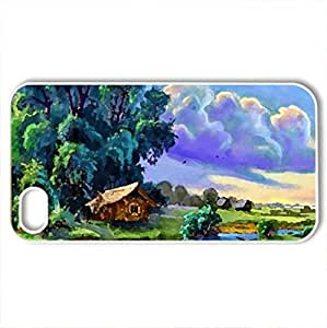 Blue dreaming place - Case Cover for iPhone 4 and 4s (Rivers Series, Watercolor style, White)
