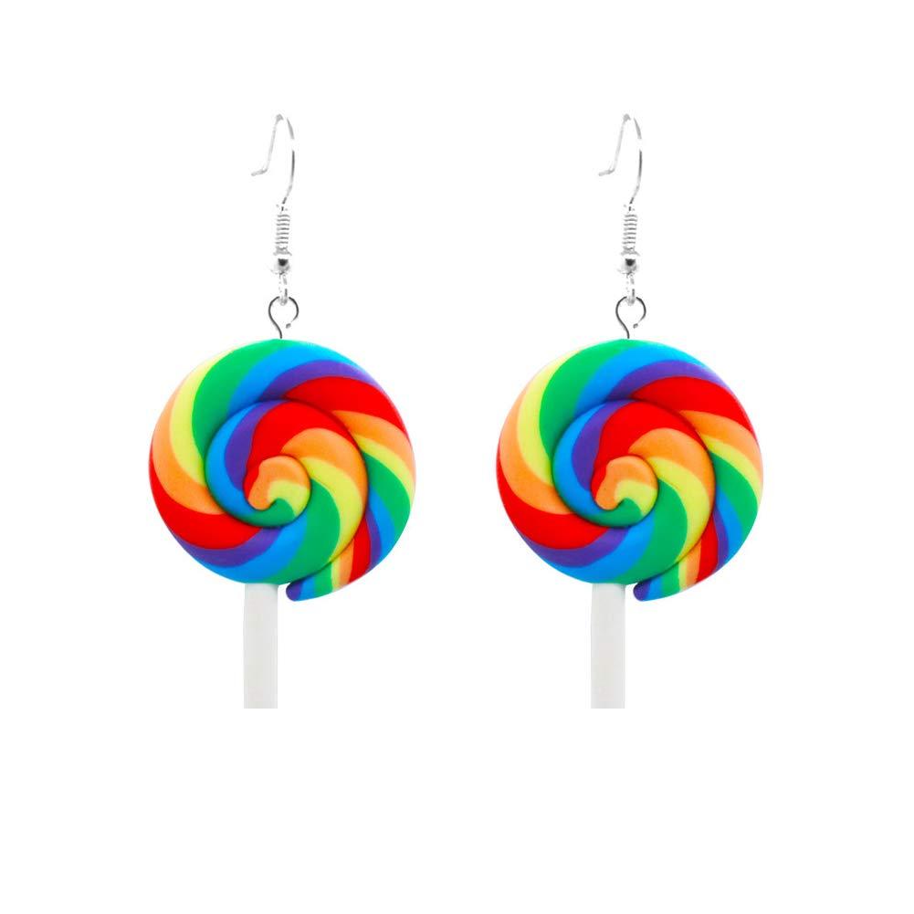 Fashion Rainbow Lollipop Candy Dangle Hook Earrings for Women Jewelry Gift