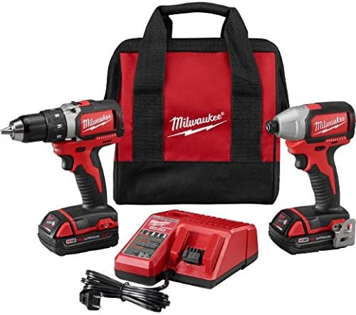 Milwaukee 2798-22CT-18V Compact Brushless Drill Brushless Impact Combo Kit 2 Tool 2 Li-Ion Battery 18V 1.5Ah Multi-Voltage Charger 12-18V Belt Clip Contractor Bag
