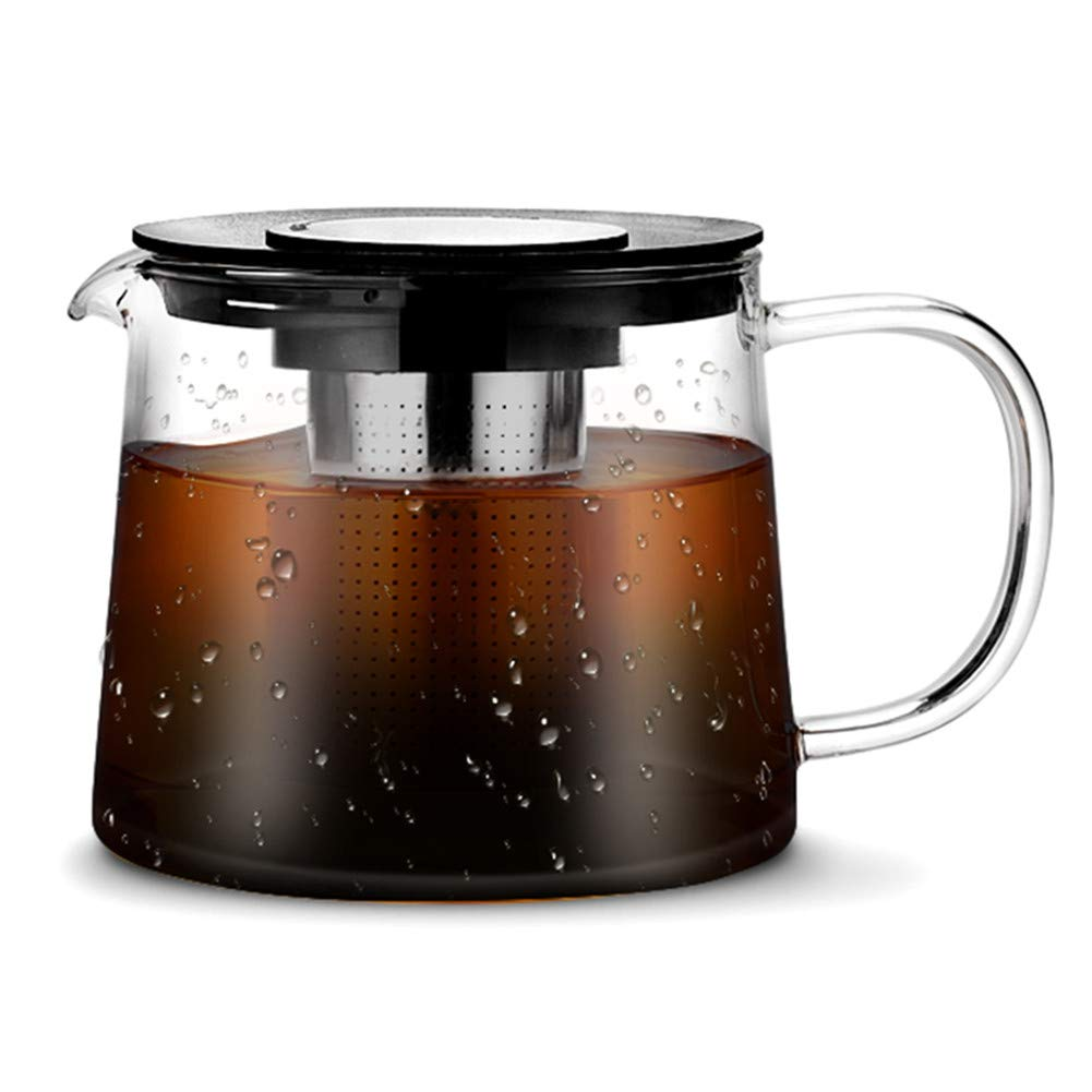 KORSMALL Cold Brew Coffee Maker and Tea Maker with Handle- 50oz Thick Borosilicate Glass Carafe with Removable 18/8 Stainless Steel Filter for Iced or Hot Coffee & Tea Infusion