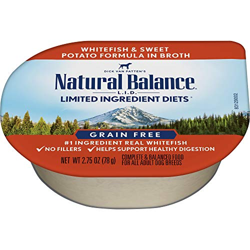 - Natural Balance Limited Ingredient Diets Wet Dog Food, White Fish And Sweet Potato Formula In Broth, 2.75-Ounce Cups (Pack Of 24)
