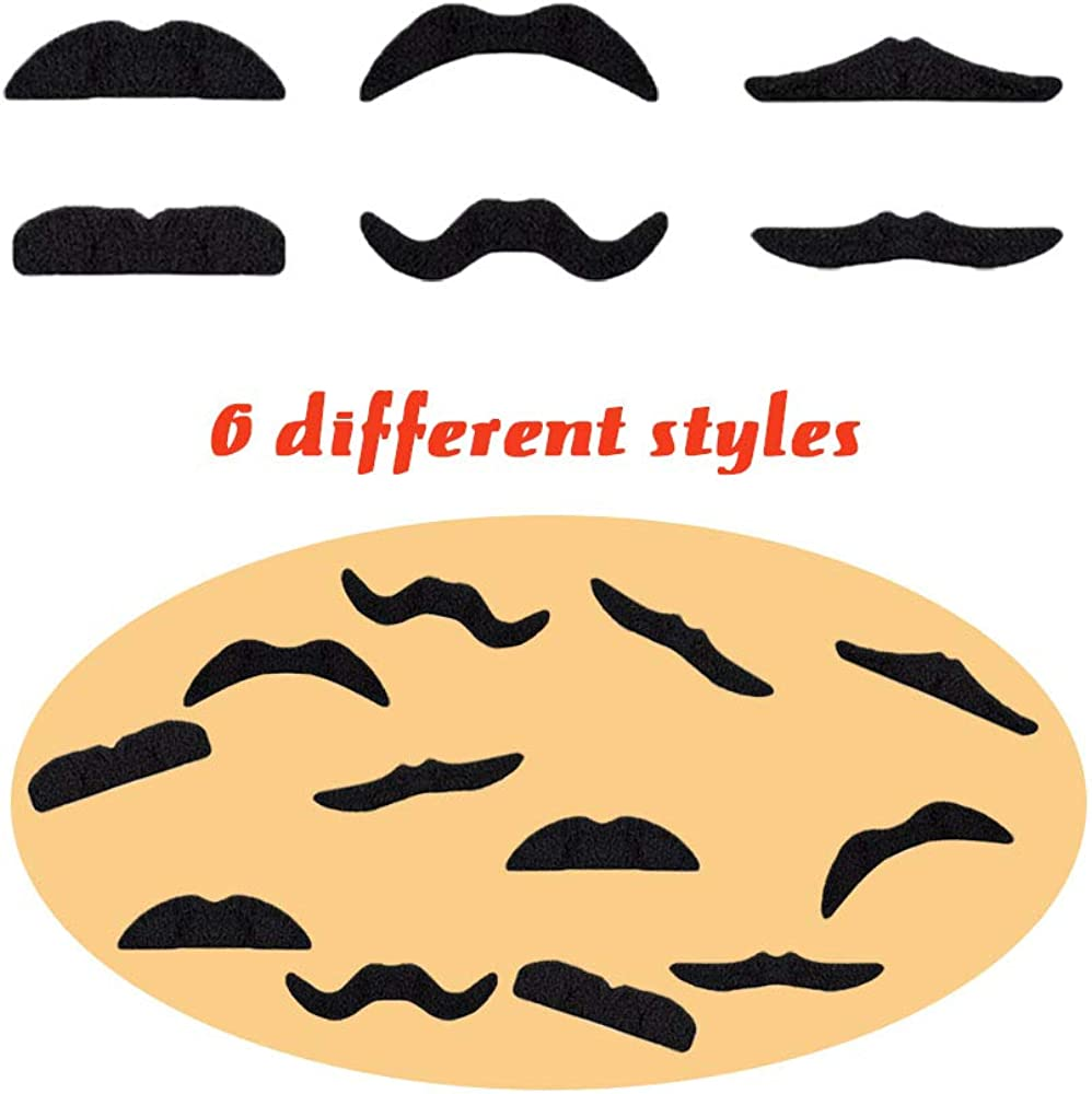 72PCS Fake Mustaches Beard,Self Adhesive Mustache,Novelty Mustaches for Party Supplies,Halloween,Christmas Black
