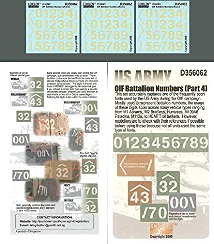 Echelon Fine Decal 135 Us Army Oif Battalion Numbers Part 4 D356062