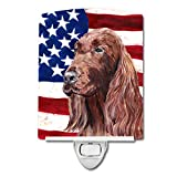 Caroline's Treasures Irish Setter with American Flag Night Light, 6'' x 4'', Multicolor