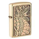 Zippo Dragon Emblem Brushed Brass Pocket Lighter (Color: Brushed Brass Dragon Emblem, Tamaño: One Size)