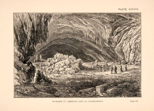 1883 Wood Engraving Entrance Cave Limestone Cacahuamilpa Thomas Brocklehurst - Original Wood Engraving