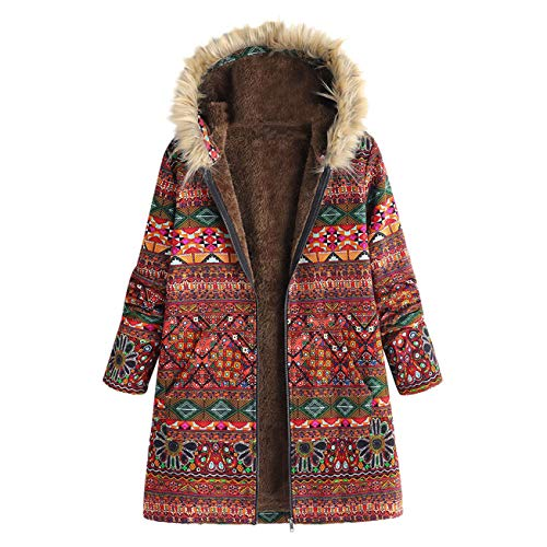 chaud floral en poches imprimé pour et à femmes classique composite Sweat vintage épaissi élégant Manteaux surdimensionné d'hiver rouge shirt mode capuchon qUFYO