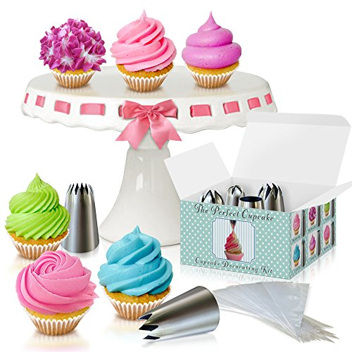 Jumbo Tip Bag (Cupcake Decorating Kit - The Perfect Cupcake By Love2bake -X-Large Stainless Steel Tips & Icing Bags)