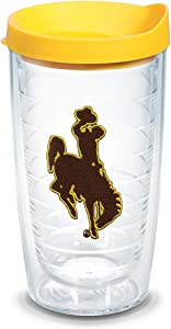 Tervis Wyoming Cowboys Logo Tumbler with Emblem and Yellow Lid 16oz, Clear