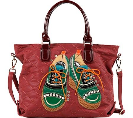 TORI PATCHWORK OXFORDS TOTE (RED) (Nicole Oxford)