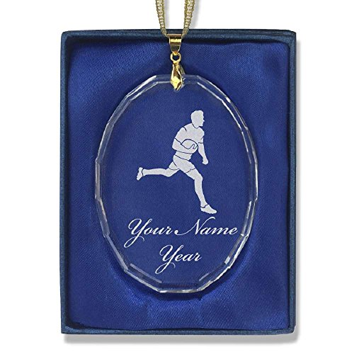 SkunkWerkz Oval Crystal Christmas Ornament - Rugby Player - Personalized Engraving Included by SkunkWerkz (Image #3)