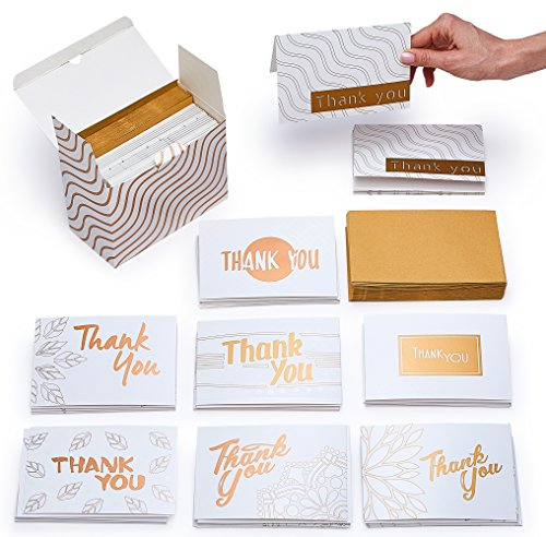 Thank You Cards Assorted Set - 40 Blank Thank U Note Cards & Kraft Envelopes - Gold Floral Designs - Bulk Thank You Notes for Baby Shower, Bridal, Kids, Graduation, (Gold Stationery Boxes)