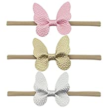 QtGirl 3 Pcs Baby Girls Nylon Headband Elastic Hairband for Newborn Toddlers