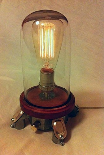 The Mood Rock-it Industrial base bell jar lamp w/ rotary dimmer, bedside Edison night light mood lamp by MillerLights