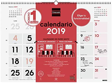 Finocam 780050019 - Calendario de pared 2019: Amazon.es: Oficina y ...