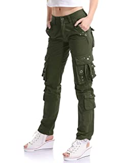 f3720f8a5ff7 OTW-Women Summer Casual Baggy with Pockets Pure Color Cargo Pants ...