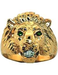 Emerald & Diamond Lion Head Ring 14K Yellow Gold Band