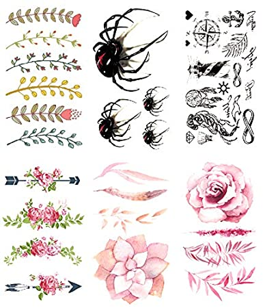 Amazon oottati 2018 small cute temporary tattoos stickers 6 oottati 2018 small cute temporary tattoos stickers 6 sheets flower branch 3d halloween spider mashup compass mightylinksfo