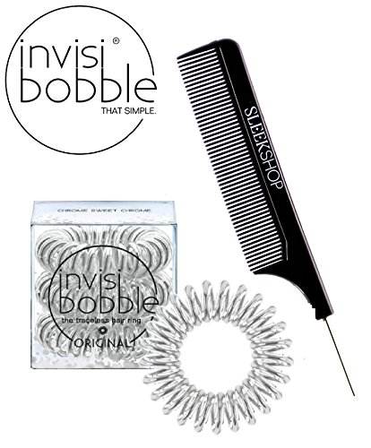 Invisibobble Traceless Hair Ring (with Sleek Steel Pin Tail Comb) (ORIGINAL, CHROME SWEET CHROME) -