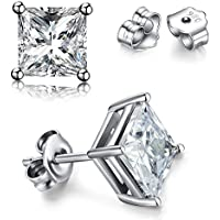 SWOPAN 925 Sterling Silver Princess Cut Cubic Zirconia Stud Earrings for Women Men 4 Prong Sparkling Round Pure Brilliance CZ Stud Earrings - Round or Square 4 Prong Earring