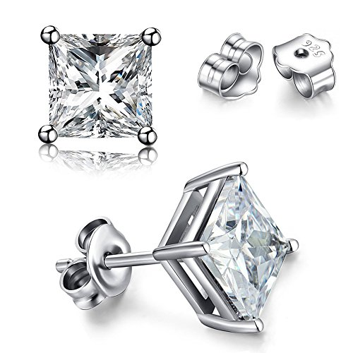 SWOPAN 925 Sterling Silver Pricess Cut Cubic Zirconia Stud Earrings for Women Men 18K White Gold Plated 4 Prong Square Simulated Diamond CZ Crystal Earring Studs, Square 4 Prongs Stud, 4MM