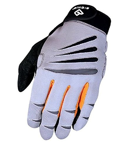 Bionic Men's Cross-Training Full Finger Gloves, Gray/Orange, (Hand Finger Exercise System)