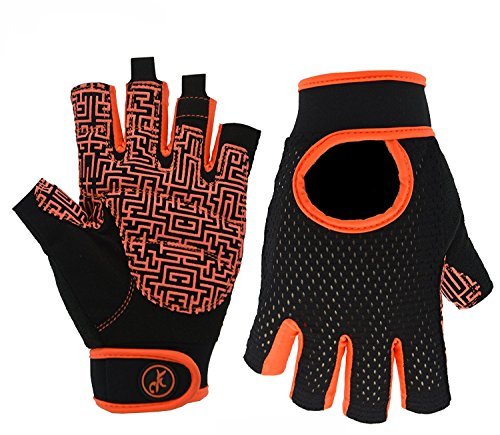 Dynamic Gloves - MOREOK Gym Fitness Glove for Dynamic cycling,Dumbbells training, Weightlifting sports Wrist Supports for Weight Training,Bodybuilding Equipment Indoor & Outdoor Sports Exercise Gloves (orange, S)