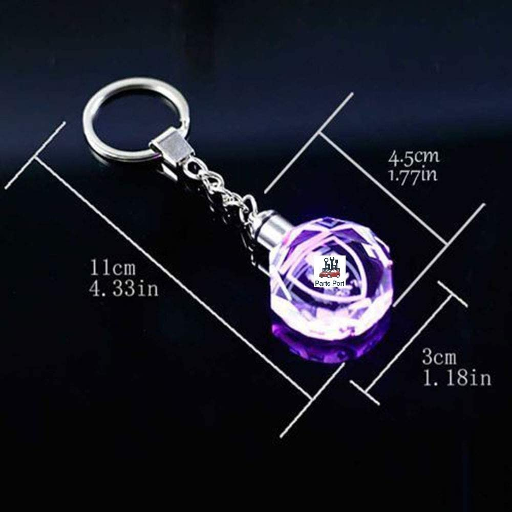 Flashing Keychain with Car Logo Laser Engraved Crystal Body w//Colorful LED Light for HONDA