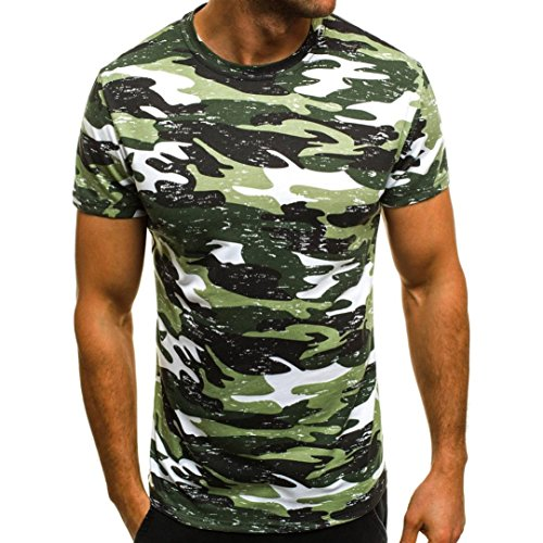 (iLXHD Men Muscle T-Shirt Slim Casual Fit Short Sleeve Camouflage Blouse Tops(2XL,Green))