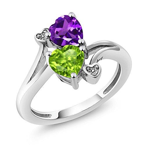 1.51 Ct Heart (1.51 Ct Heart Shape Green Peridot Purple Amethyst 925 Sterling Silver Ring)