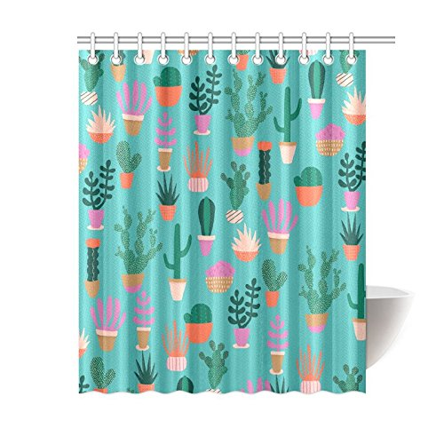 "Classical Design Polyester Fabric Modern Cactus Cartoon Printed Pattern Shower Curtains Bathroom Curtain For Hotel/Home 60""x72"""