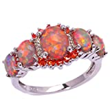 CiNily Rhodium Plated Created Orange Fire Opal Orange Garnet Women Jewelry Gemstone Ring Size 7