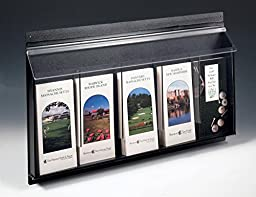 Displays2go Outdoor Literature Holders 24 x 16 x 2 Inches Clear Acrylic Front with Black ABS Backboard Brochure Displays - Leaflet Dispensers Have Five Pockets for Advertising (OPD5)