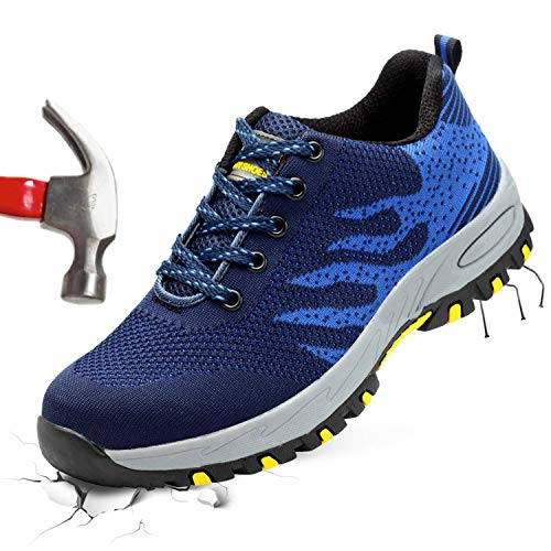 (Barerun Men's Women's Steel Toe Work Safety Shoes Athletic Lightweight Slip Resistant Sneakers Industrial and Construction Shoe Blue 7.5 M US Women / 6 M US Men)