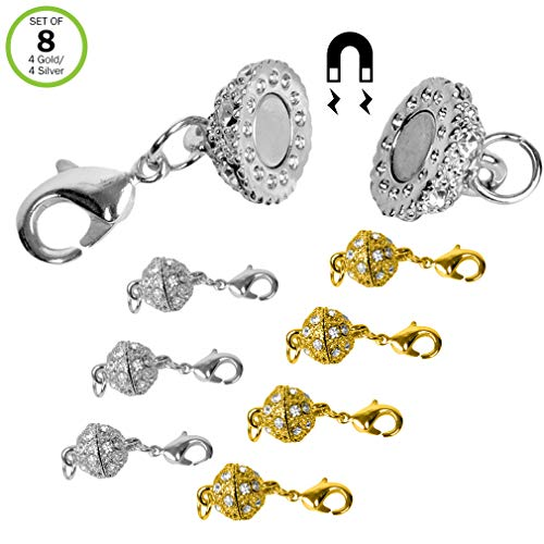 - Evelots Magnetic Jewelry Clasps, Rhinestone Ball, Goldtone & Silvertone- Set/8