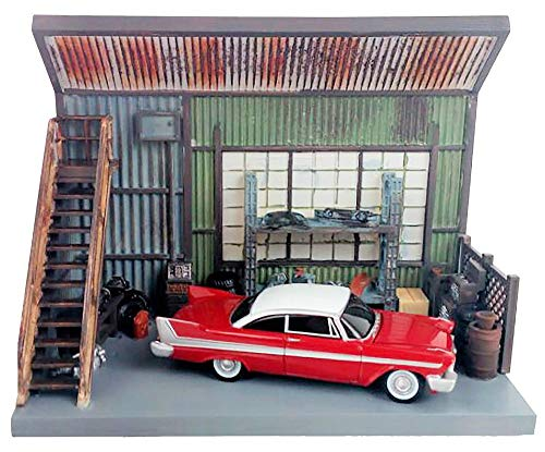1958 Plymouth Fury Red with Darnell's Garage Scenic Display Diorama from Christine (1983) Movie 1/64 Diecast Model by Autoworld -