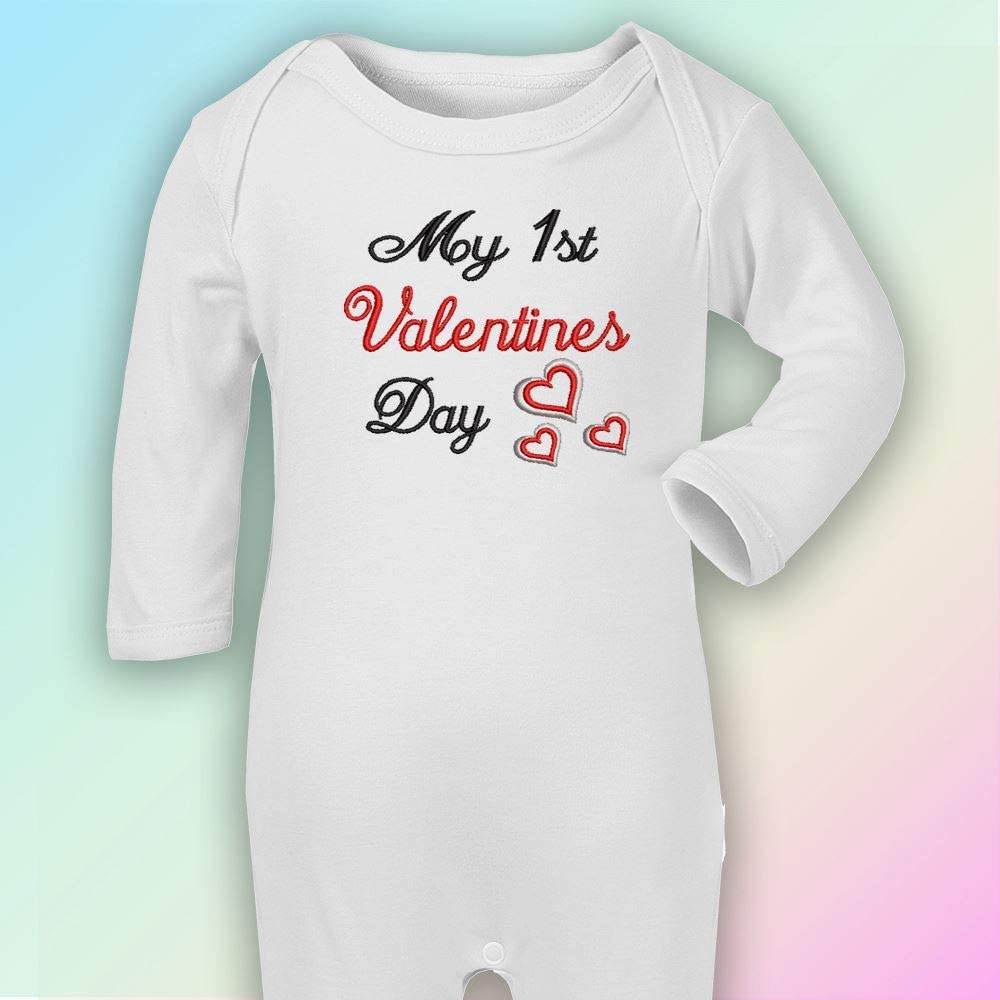 My 1st Valentines Day Blues Thread Embroidered Romper in White Newborn