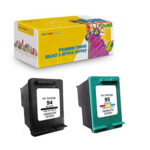 New York TonerTM New Compatible 2 Pack C8765WN C8766WN HP 94 HP 95 High Yield Inkjet For HP OfficeJet 6200 . - Black (6200 Printer Inkjet Cartridge)