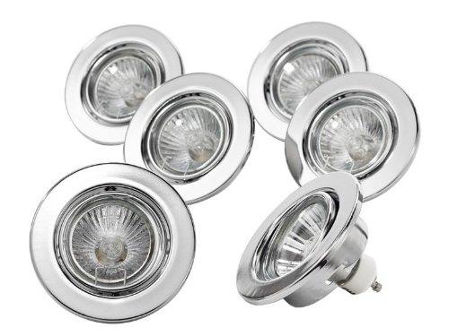 Juego de luces LED de 6 focos halógenos (Incluye GU10 50 W - Cromo De Imitación - También para LED: Amazon.es: Iluminación