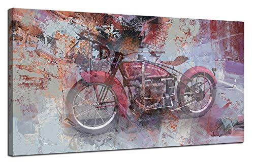 Ardemy Canvas Wall Art Abstract Motocycle Vintage Red Colorful Painting Panoramic Large Size Long Picture Artwork for Office Home Kitchen Living Room Bedroom Wall Decor(40