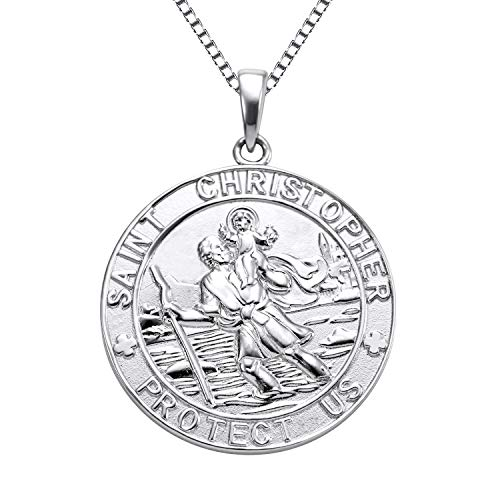Patron Saint Medal Necklace - YL Jewelry St Christopher Medal Pendant Patron Saint Guardian Protect Us Necklace 925 Sterling Silver Religious Engraved Medallion, 18