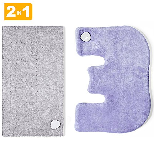 """UPC 727780597949, Heating Pad Gift Set of 2 - King Size 18"""" x 25"""" Shoulder Heating Pad and 12"""" x 24"""" Fast Heating Wrap with Auto Shut Off for Back, Neck and Shoulder, Abdomen, Waist Pain Relief, Dry / Moist Option"""