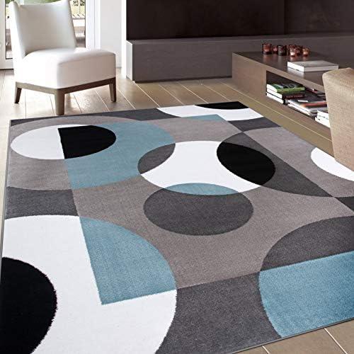 Modern Circles Blue Area Rug 5' 3″ X 7' 3″
