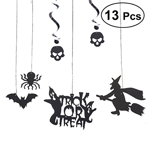 (Amosfun 13pcs Hanging Spiral Garlands Ornaments Spider Bat Witch Skull PVC Hanging Banner Halloween Event Supplies Decoration)